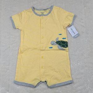 Carter's NWT 12M Yellow Stripe Turtle Onesie Short